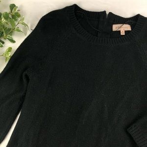 Philosophy Black Zipper Back 3/4 Sleeve Sweater